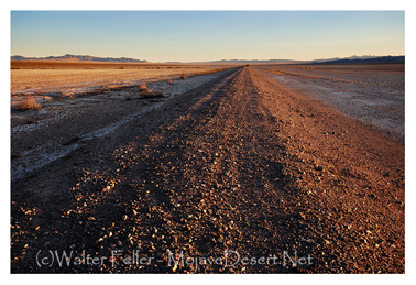 photo of Tonopah and Tidewater railroad bed at Broadwell dry lake, near Ludlow, California