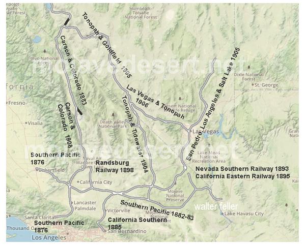 Mojave Desert In California Map.Railroads Of The Mojave Desert